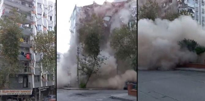 İzmir'de deprem sonrası 8 katlı bina çöktü! İşte o anlar